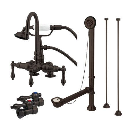 Kingston Brass CCK13T5 Vintage Deck Mount Clawfoot Tub Faucet Package, Oil Rubbed Bronze