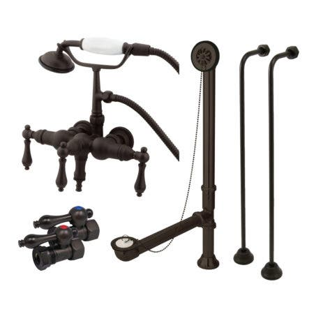 Kingston Brass CCK19T5A Vintage Down Spout Wall Mount Clawfoot Faucet Package, Oil Rubbed Bronze