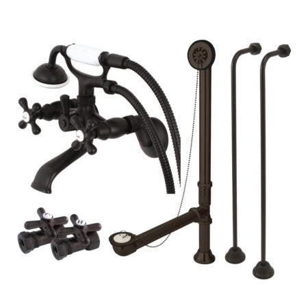 Kingston Brass CCK265ORB Wall Mount Clawfoot Tub Faucet Package, Oil Rubbed Bronze