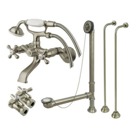 Kingston Brass CCK265SN Vintage Wall Mount Clawfoot Faucet Package, Brushed Nickel