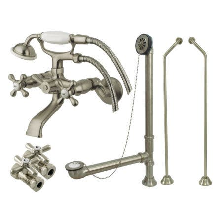 Kingston Brass CCK265SND Vintage Wall Mount Clawfoot Faucet Package, Brushed Nickel
