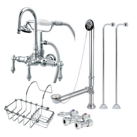 Kingston Brass CCK8T1SS-SB Freestanding Clawfoot Tub Filler Faucet Combo, Polished Chrome