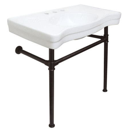 Kingston Brass VPB1365ST Imperial Ceramic Console Sink with Stainless Steel Legs, White/Oil Rubbed Bronze