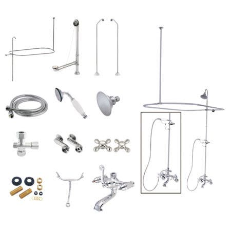 Kingston Brass CCK1181AX Vintage Clawfoot Tub Wall Mount Package with Metal Cross Handles, Polished Chrome