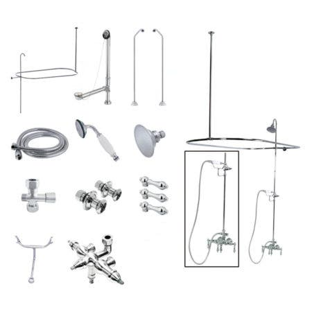 Kingston Brass CCK3181AL Vintage Wall Mount Down Spout Clawfoot Tub and Shower Package with Metal Lever Handles, Polished Chrome