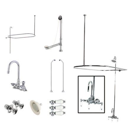 Kingston Brass CCK4181PL Vintage Wall Mount Gooseneck Clawfoot Tub Faucet Package, Polished Chrome