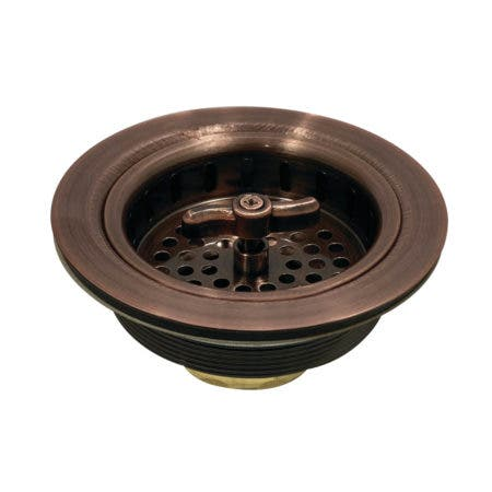 Kingston Brass K212AC Tacoma Spin and Seal Sink Basket Strainer, Antique Copper