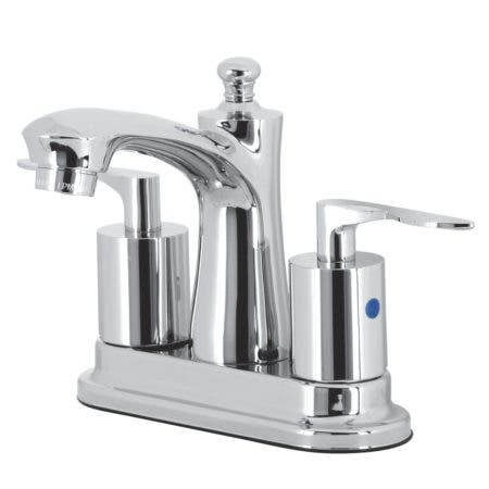 """Kingston Brass FB7621SVL Two-Handle 3-Hole Deck Mount 4"""" Centerset Bathroom Faucet with Retail Pop-Up in Polished Chrome"""