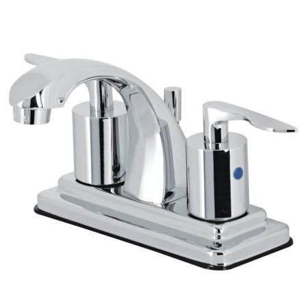 """Kingston Brass KB4641SVL Two-Handle 3-Hole Deck Mount 4"""" Centerset Bathroom Faucet with Retail Pop-Up in Polished Chrome"""