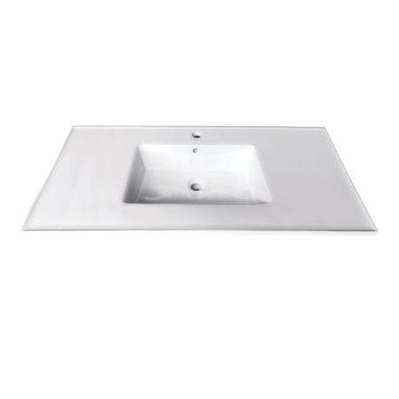 Fauceture LBT372271 Continental 37-Inch Ceramic Vanity Top, 1-Hole, White