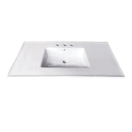 Fauceture LBT37227W34 Continental 37-Inch Ceramic Vanity Top, 4-Inch, 3-Hole, White