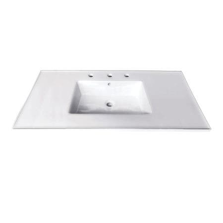 Fauceture LBT37227W38 Continental 37-Inch Ceramic Vanity Top, 8-Inch, 3-Hole, White