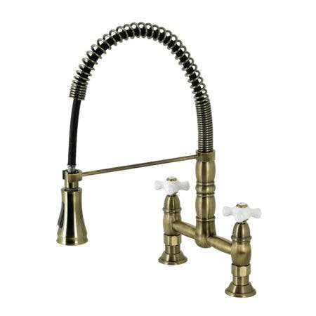 Gourmetier GS1273PX Heritage Two-Handle Deck-Mount Pull-Down Sprayer Kitchen Faucet, Antique Brass