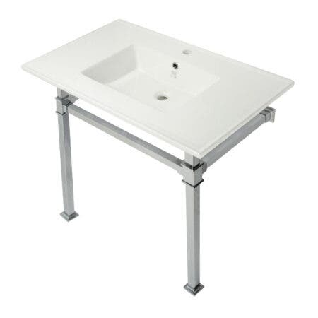 Kingston Brass KVPB37221Q1 Monarch 37-Inch Console Sink with Stainless Steel Legs (Single Faucet Hole), White/Polished Chrome