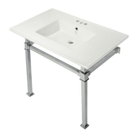 Kingston Brass KVPB37224Q1 Monarch 37-Inch Console Sink with Stainless Steel Legs (4-Inch, 3 Hole), White/Polished Chrome