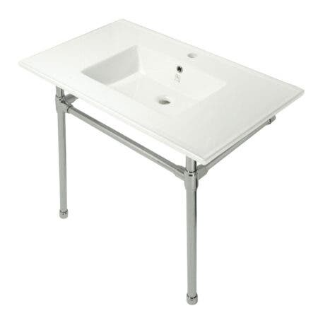 Kingston Brass KVPB3722716 Dreyfuss 37-Inch Console Sink with Stainless Steel Legs (Single Faucet Hole), White/Polished Nickel
