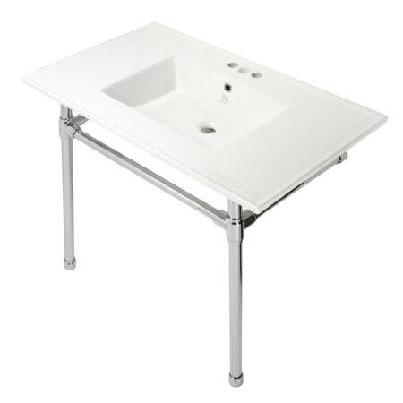 Kingston Brass KVPB37227W41 Dreyfuss 37-Inch Console Sink with Stainless Steel Legs (4-Inch, 3 Hole), White/Polished Chrome