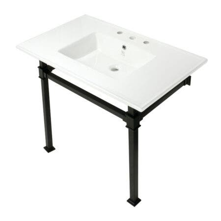 Kingston Brass KVPB37228Q0 Monarch 37-Inch Console Sink with Stainless Steel Legs (8-Inch, 3 Hole), White/Matte Black