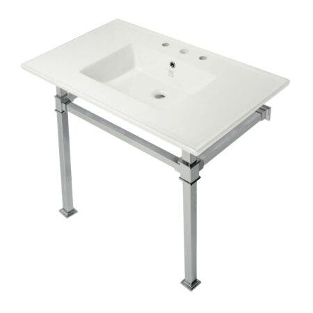 Kingston Brass KVPB37228Q1 Monarch 37-Inch Console Sink with Stainless Steel Legs (8-Inch, 3 Hole), White/Polished Chrome