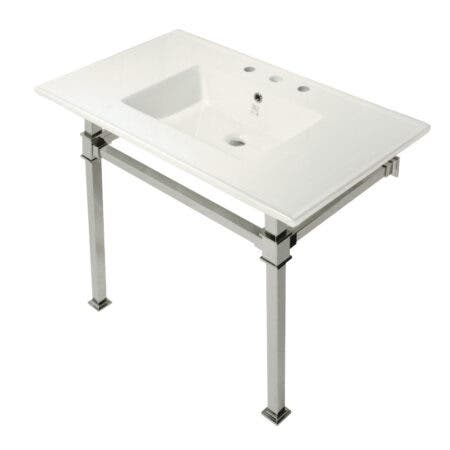 Kingston Brass KVPB37228Q6 Monarch 37-Inch Console Sink with Stainless Steel Legs (8-Inch, 3 Hole), White/Polished Nickel