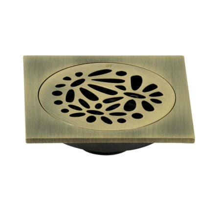 """Kingston Brass BSF6360AB Watercourse Floral 4"""" Square Grid Shower Drain, Antique Brass"""