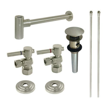 Kingston Brass CC53308DLTRMK2 Plumbing Sink Trim Kit with Bottle Trap and Overflow Drain, Brushed Nickel