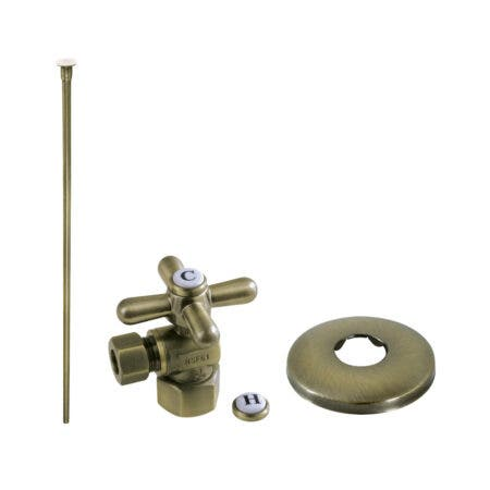 Kingston Brass KTK103P Trimscape Toilet Supply Kit Combo 1/2-Inch IPS X 3/8-Inch Comp Outlet, Antique Brass