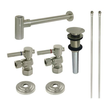 Kingston Brass CC53308DLTRMK1 Plumbing Sink Trim Kit with Bottle Trap and Drain (No Overflow), Brushed Nickel