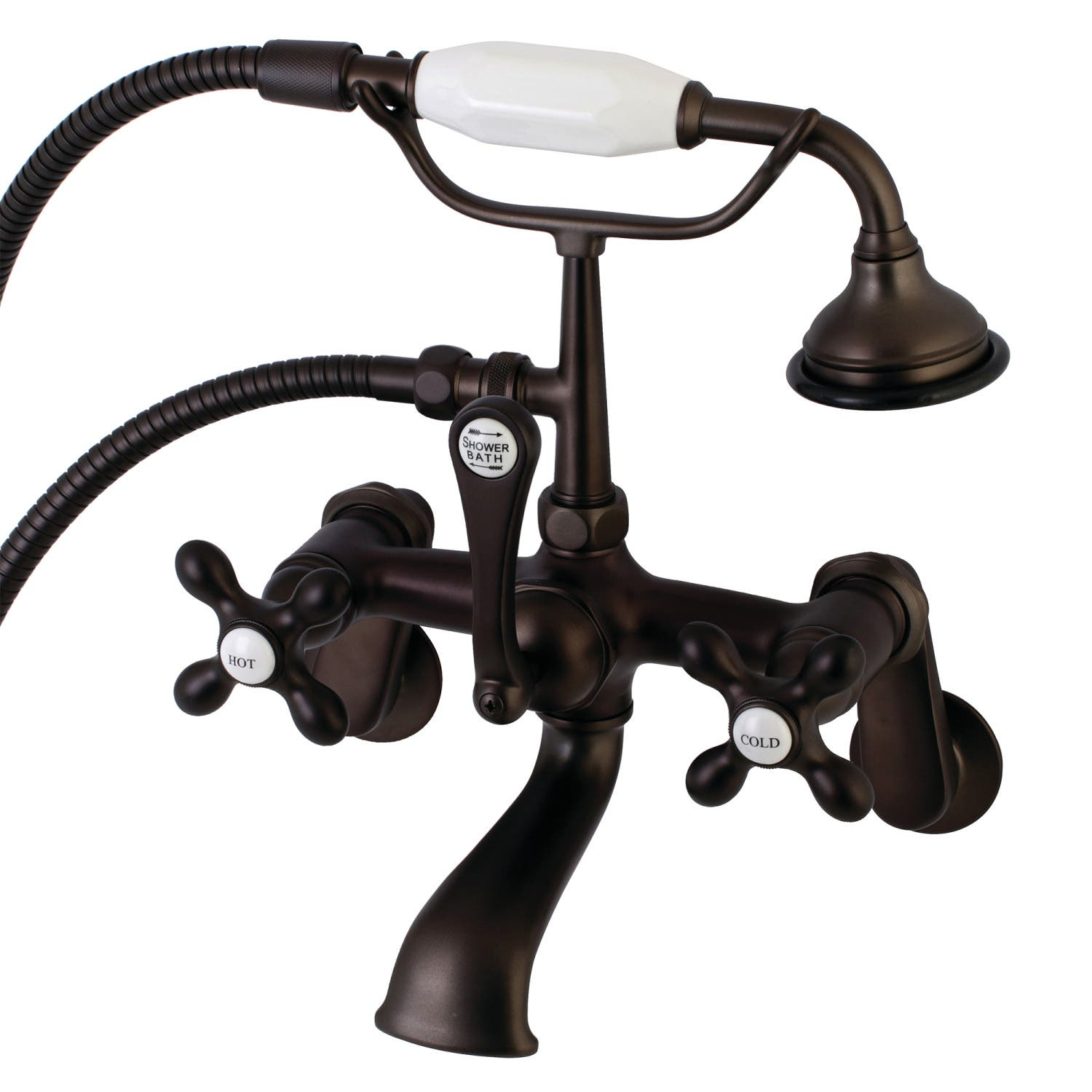 Aqua Vintage AE57T5 Wall Mount Clawfoot Tub Faucet with Hand Shower ...