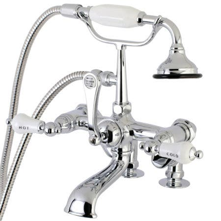 Aqua Vintage AE654T1 Deck Mount Clawfoot Tub Faucet with Hand Shower, Polished Chrome