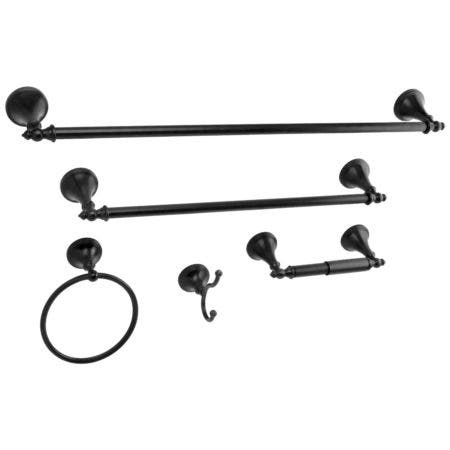 Kingston Brass BAHK1612478K Naples 5-Piece Bathroom Accessory Set, Matte Black
