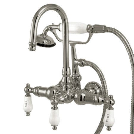 "Kingston Brass CC10T1 Vintage 3-3/8"" Wall Tub Filler with Hand shower, Polished Chrome"