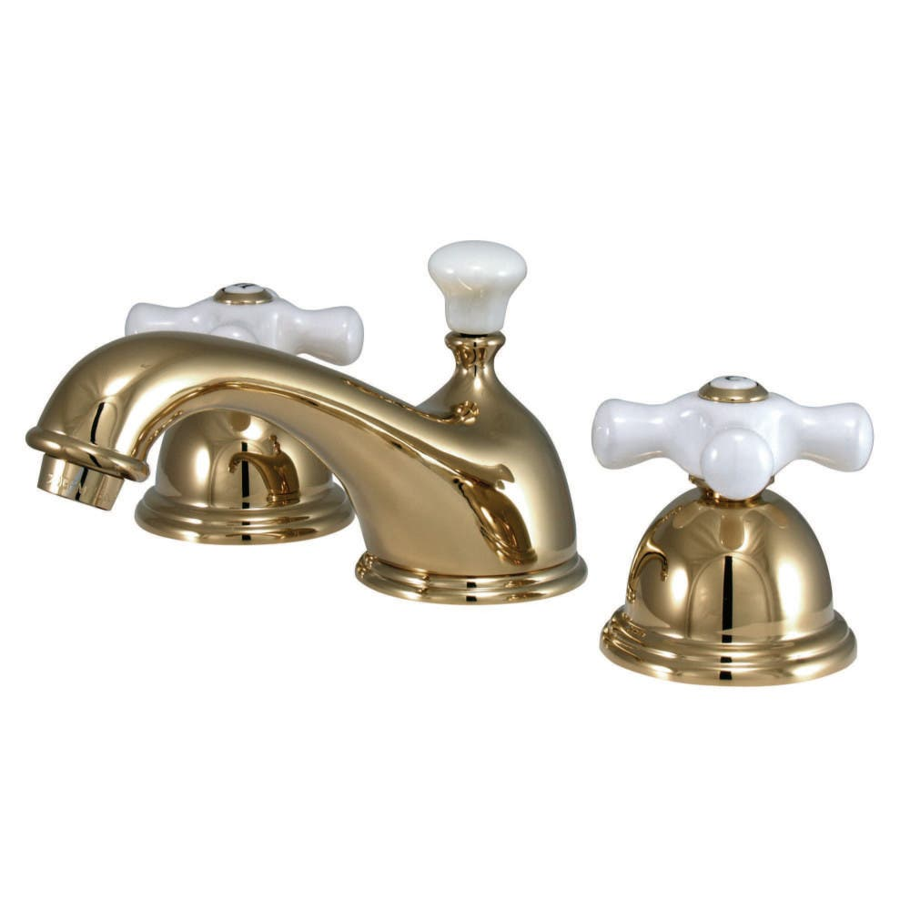 Kingston Brass CC39L2 8 to 16 in. Widespread Bathroom Faucet, Polished Brass