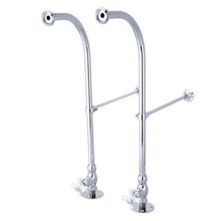 Kingston Brass CC451CX Rigid Freestanding Supplies with Stops and Porcelain Cross Levers