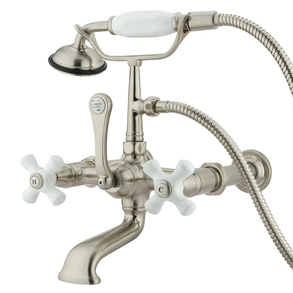 Satin Nickel Kingston Brass CC551T8 Vintage Leg Tub Filler with Hand Shower and Straight Arm