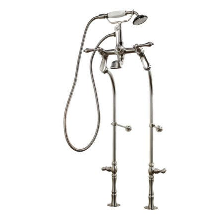 Kingston Brass CCK103T8 Vintage Tub Filler Combo with Lever Handle and Supply Lines, Satin Nickel