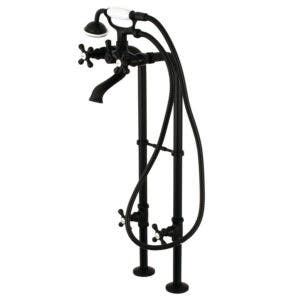 Kingston Brass CCK266K0 Freestanding Tub Faucet with Supply Line, Stop Valve and Handle, Matte Black