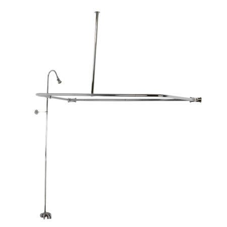 Kingston Brass CCK3121 Convert-To-Shower With Rectangular Curtain Rod Combo, Polished Chrome