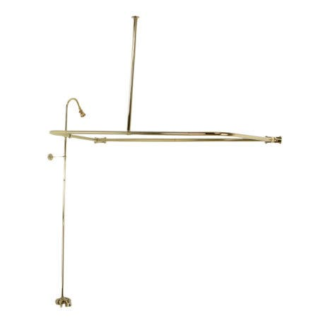 Kingston Brass CCK3122 Convert-To-Shower With Rectangular Curtain Rod Combo, Polished Brass