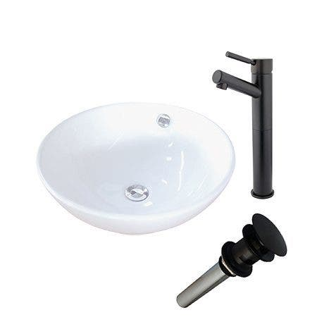 Kingston Brass EV4129S8415 Vitreous China Basin With Sink Faucet and Drain Combo, White/Oil Rubbed Bronze