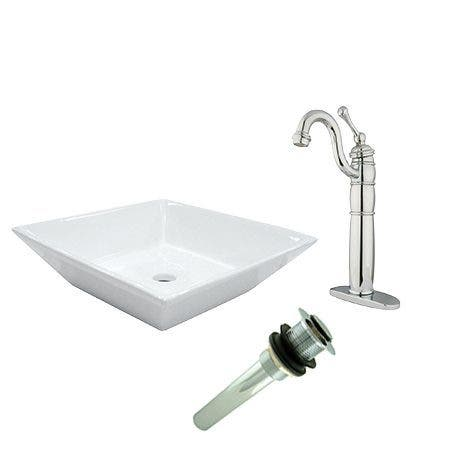 Kingston Brass EV4256B1421 Vessel Sink With Heritage Sink Faucet and Drain Combo, White/Polished Chrome