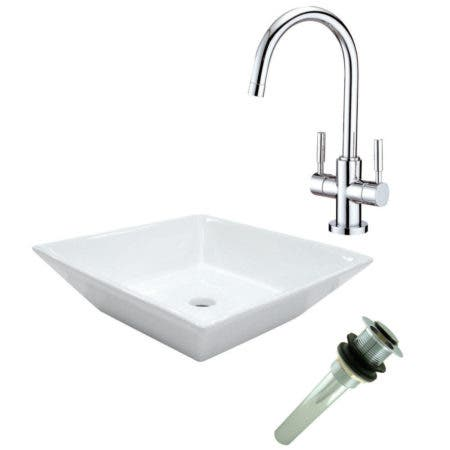 Kingston Brass EV4256S8291 Vessel Sink With Concord Sink Faucet and Drain Combo, White/Polished Chrome