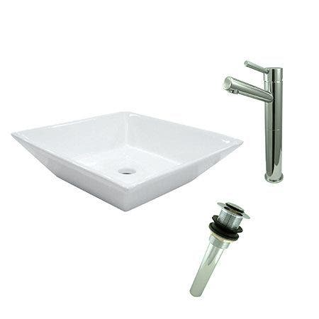 Kingston Brass EV4256S8411 Vessel Sink With Concord Sink Faucet and Drain Combo, White/Polished Chrome