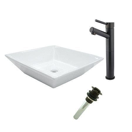Kingston Brass EV4256S8415 Vessel Sink With Concord Sink Faucet and Drain Combo, White/Oil Rubbed Bronze