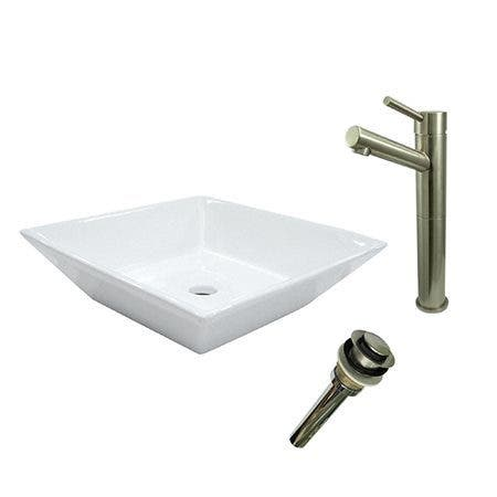 Kingston Brass EV4256S8418 Vessel Sink With Concord Sink Faucet and Drain Combo, White/Brushed Nickel