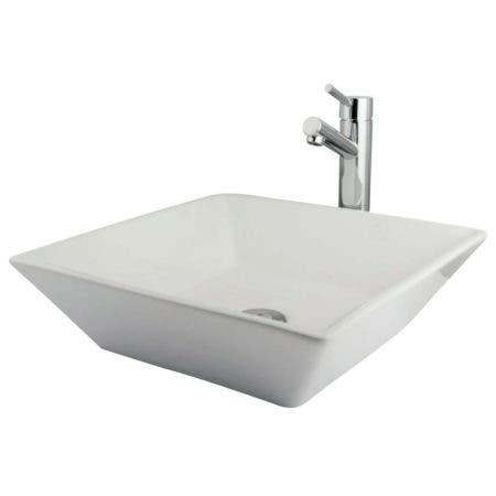 Kingston Brass EVKS4256C Vessel Sink With Concord Faucet and Drain, White