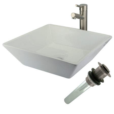 Kingston Brass EVKS4256SN Vessel Sink With Concord Faucet and Drain, Brushed Nickel