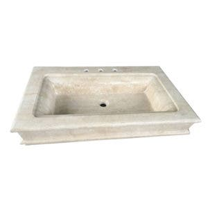 Fauceture EVS36226T 36-Inch X 22-Inch X 6-Inch Travertine Stone Vessel Sink 3H, Travertine