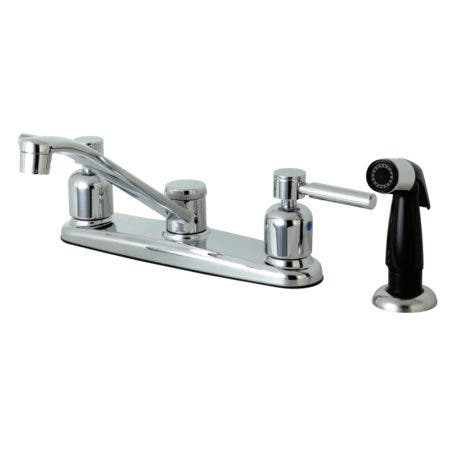 Kingston Brass FB112DL Concord 8-Inch Centerset Kitchen Faucet with Sprayer, Polished Chrome