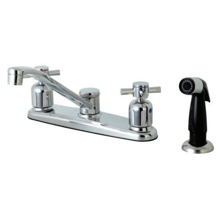 Kingston Brass FB112DX Concord 8-Inch Centerset Kitchen Faucet with Sprayer, Polished Chrome
